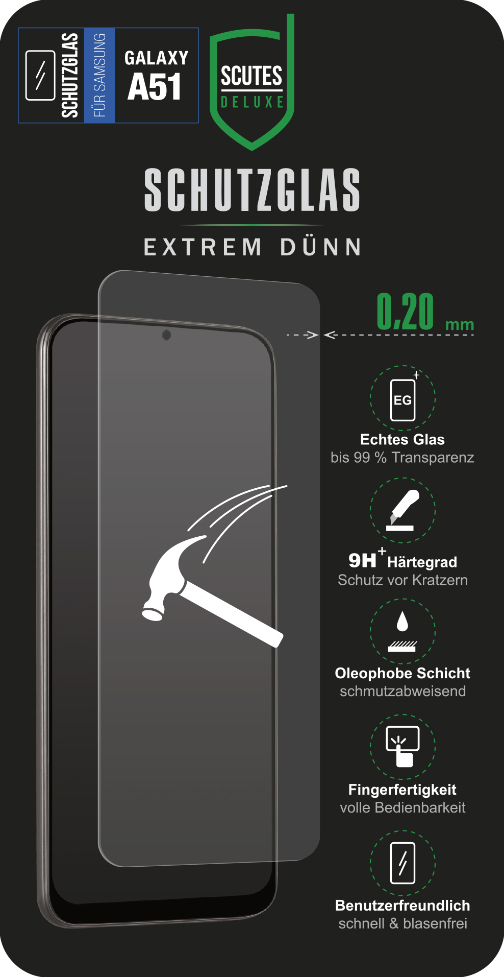 Schutzglas 0,20 (Samsung Galaxy A51)