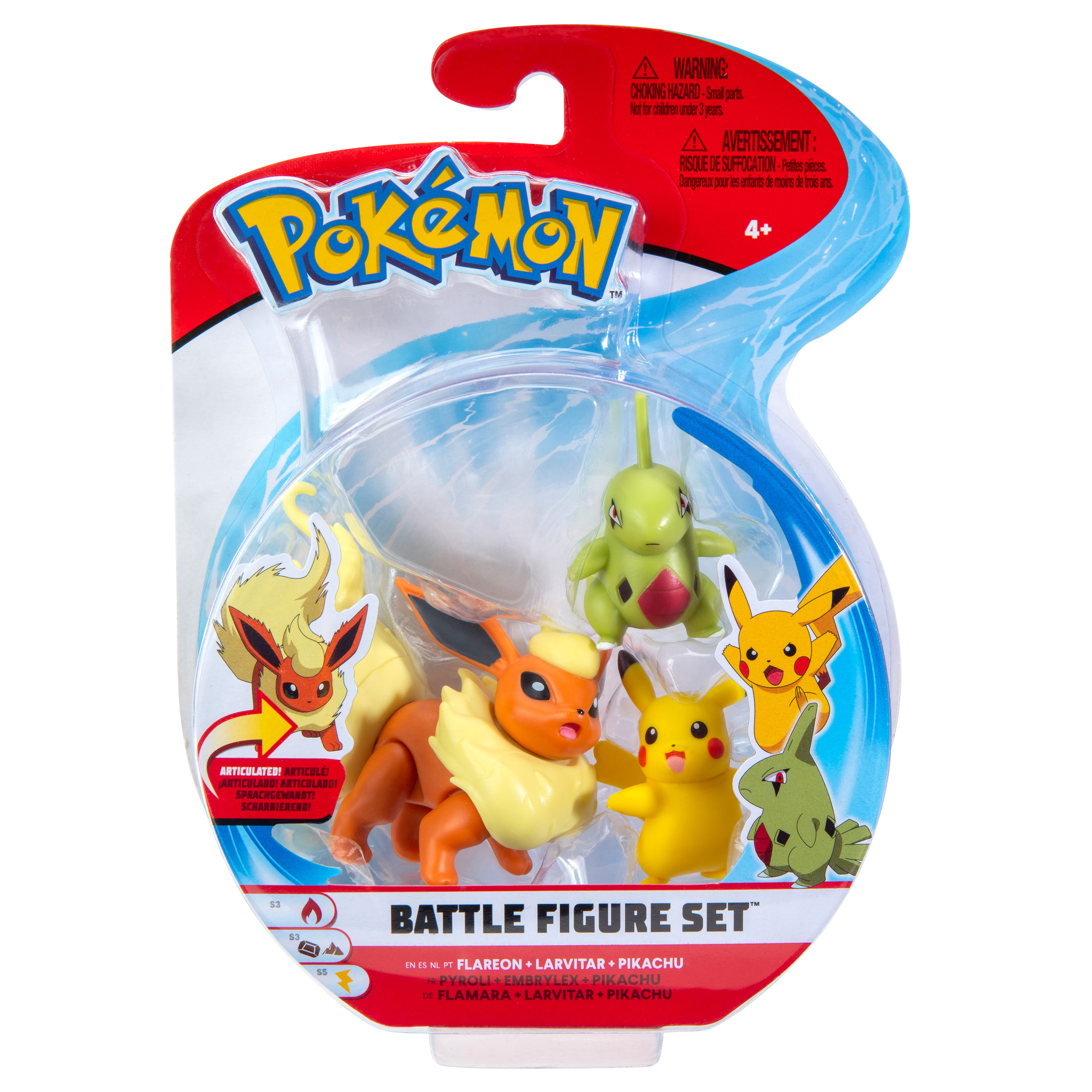Pokémon - Battle Figur 3er Pack - Pikachu, Larvatar & Flamara