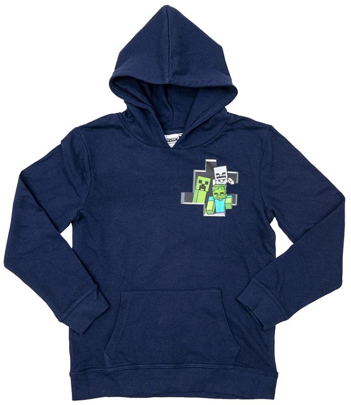 Hoodie Minecraft dunkel blau Größe 140